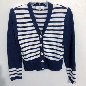 St. John Collection Striped Button Down Sweater